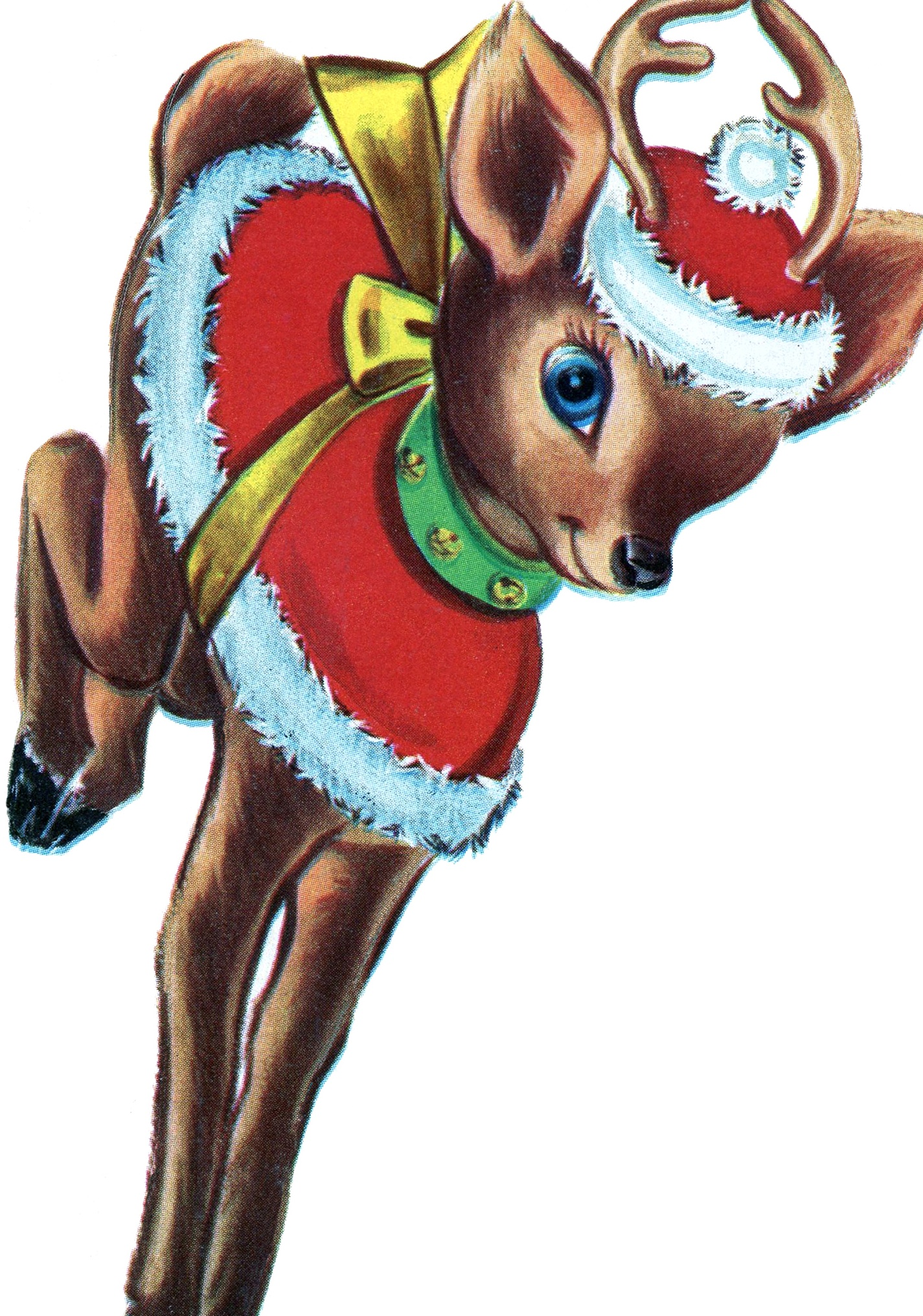 Retro Christmas Reindeer Image - The Graphics Fairy