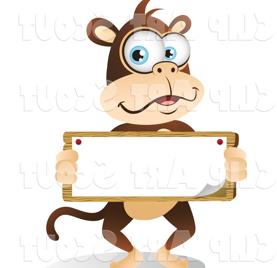 Clipart of a Cute Big Blue Eyed Monkey Holding a Sign
