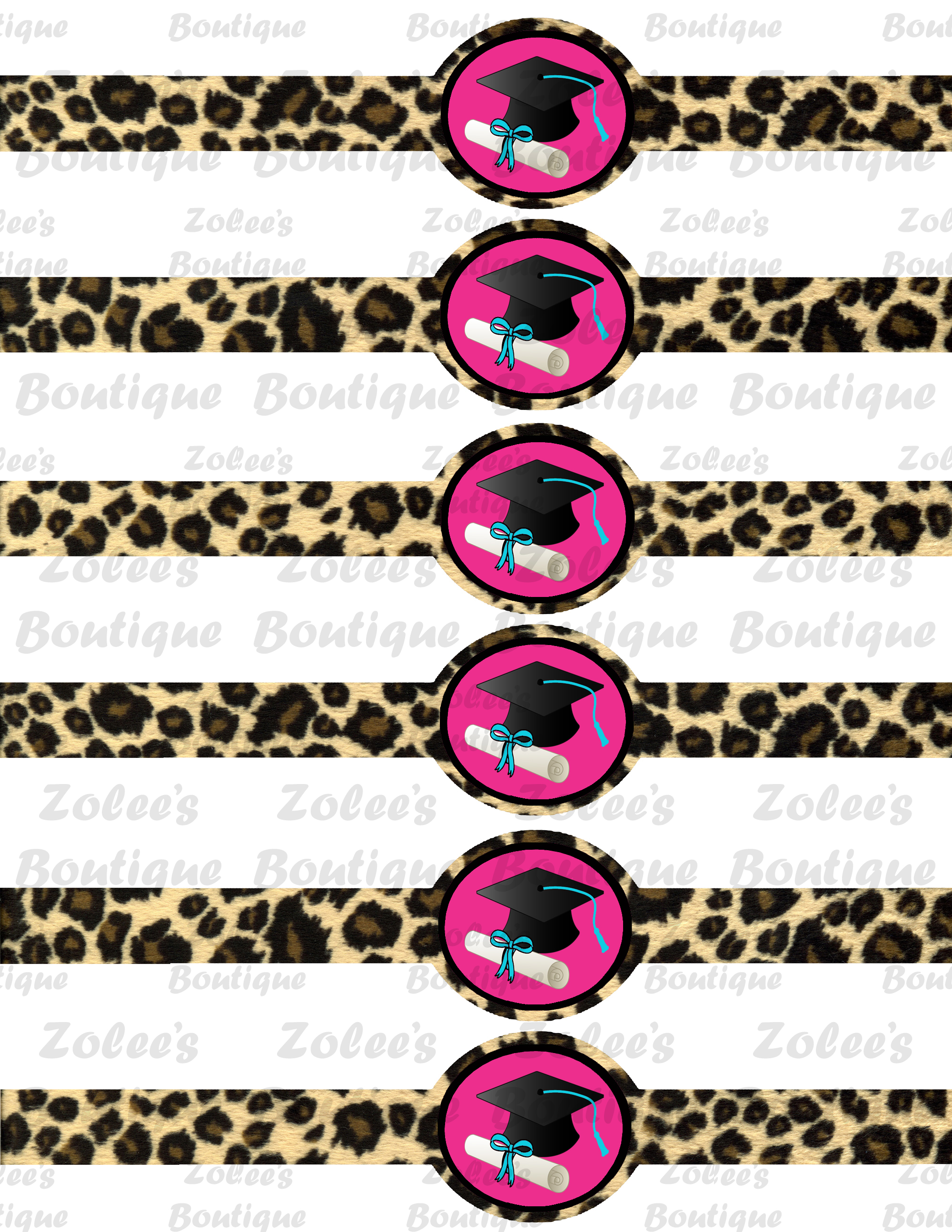 Graduation Theme - Pink Cheetah (printable party package) - Thumbnail ...