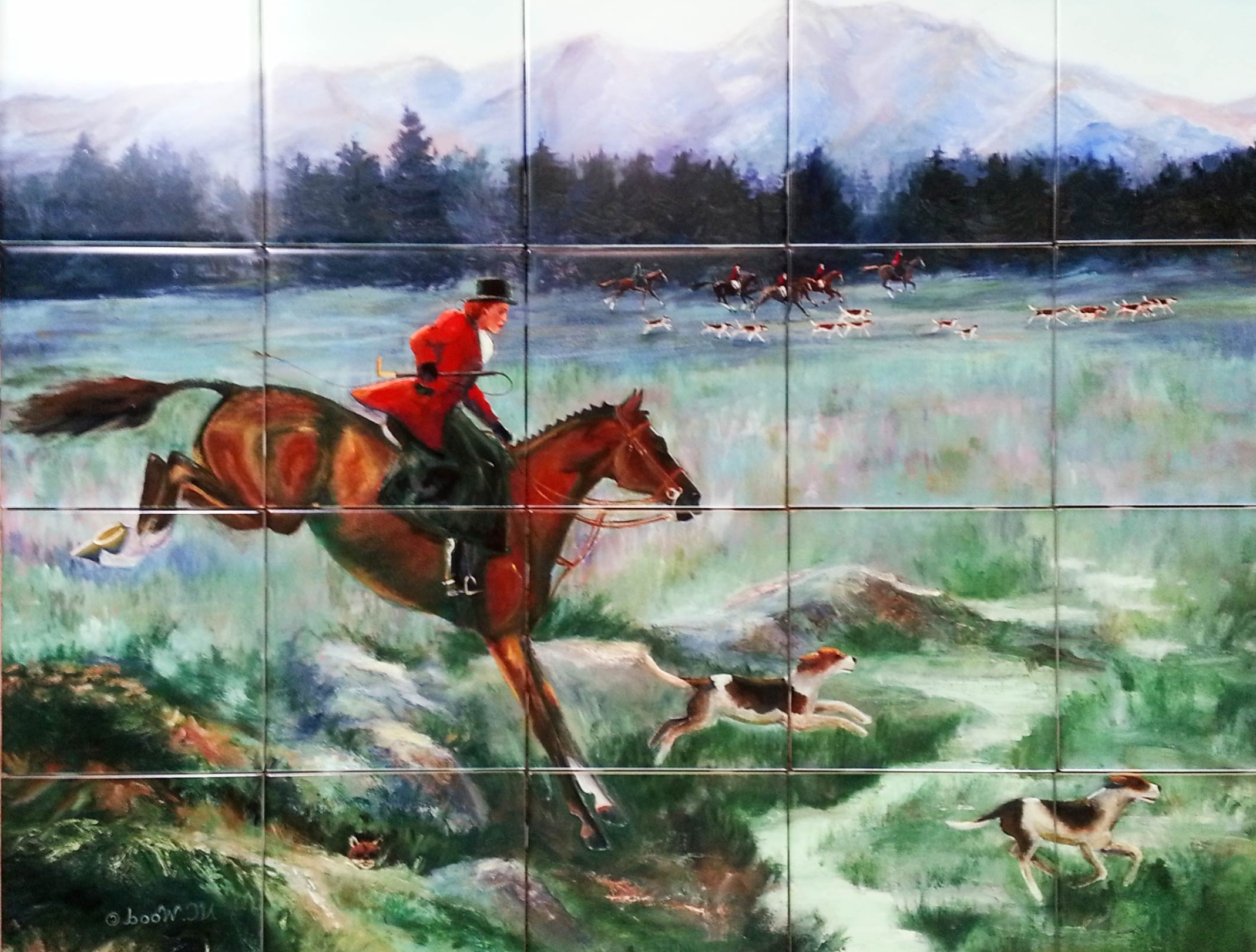 Painting of a fox hunt, reproduced on custom printed ceramic tile ...