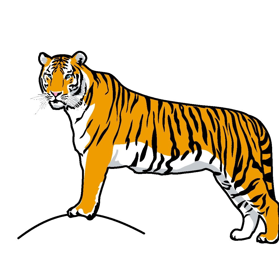 Clip Art: Big Cats: Tiger Color 1